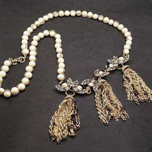 Banana Republic Rhinestone  Enameled Bee necklace